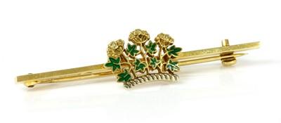 Lot 131 - A cased 9ct gold enamel Royal Society of Medicine bar brooch, by Garrard & Co. Ltd.