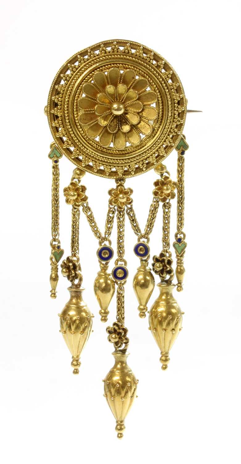 Lot 84 - A gold enamel archaeological revival Etruscan style fringe brooch, by Fortunato Pio Castellani, c.1860