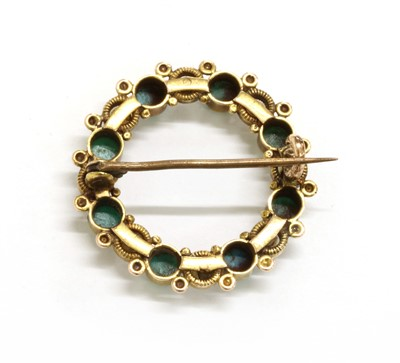 Lot 9 - A Victorian gold turquoise and pearl wreath brooch