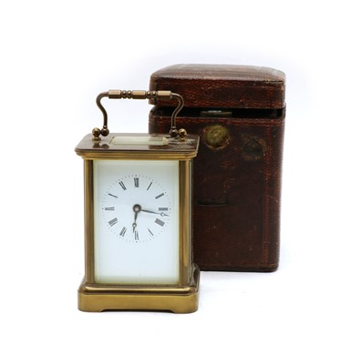 Lot 63 - An Edwardian cased timepiece carriage clock