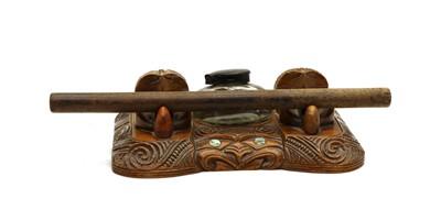 Lot 72 - A 1920 period Maori inkstand desk set