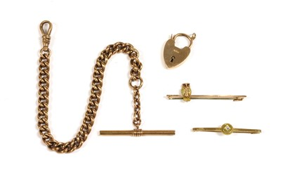 Lot 4 - A gold owl bar brooch