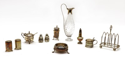 Lot 47 - A George III silver and cut glass oil or vinegar bottle