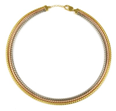 Lot 27 - A 9ct three colour gold three row necklace