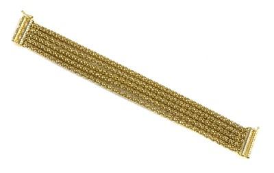 Lot 68 - A 9ct gold five row popcorn link bracelet