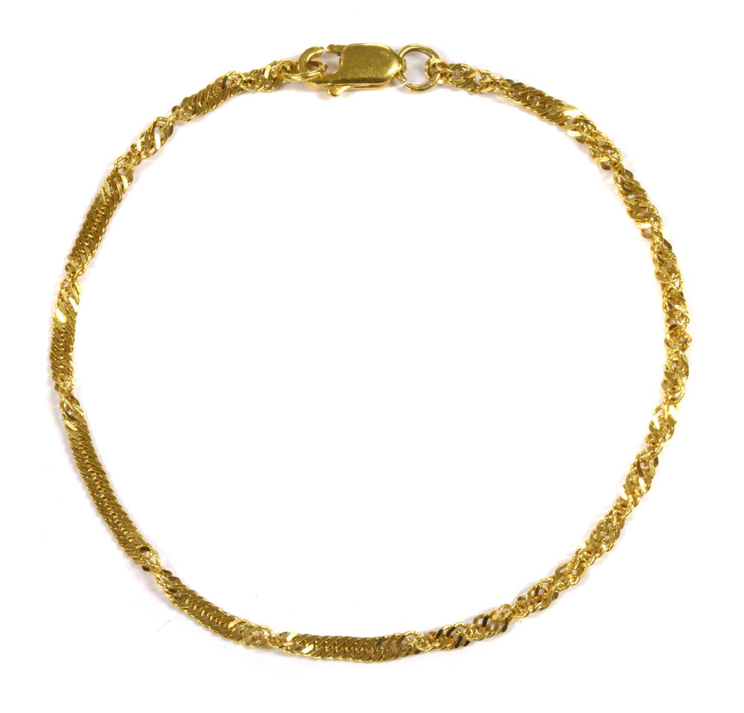 Lot 57 - A 22ct gold twisted curb link bracelet
