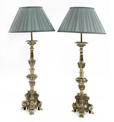 Lot 99 - A matched pair of Dutch-style brass altar candlestick table lamps