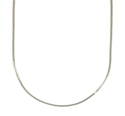 Lot 31 - A platinum two row faceted bead necklace