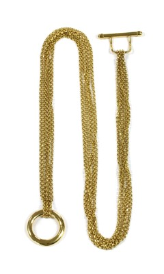 Lot 30 - A 9ct gold six row necklace