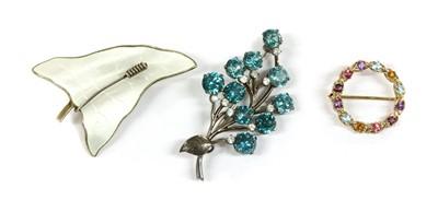 Lot 12 - A Norwegian silver and white enamel ivy leaf brooch, by O. F. Hjortdahl
