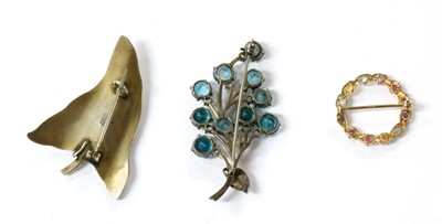 Lot 12 - A Norwegian silver and white enamel ivy leaf brooch, by O. F. Hjortdahl