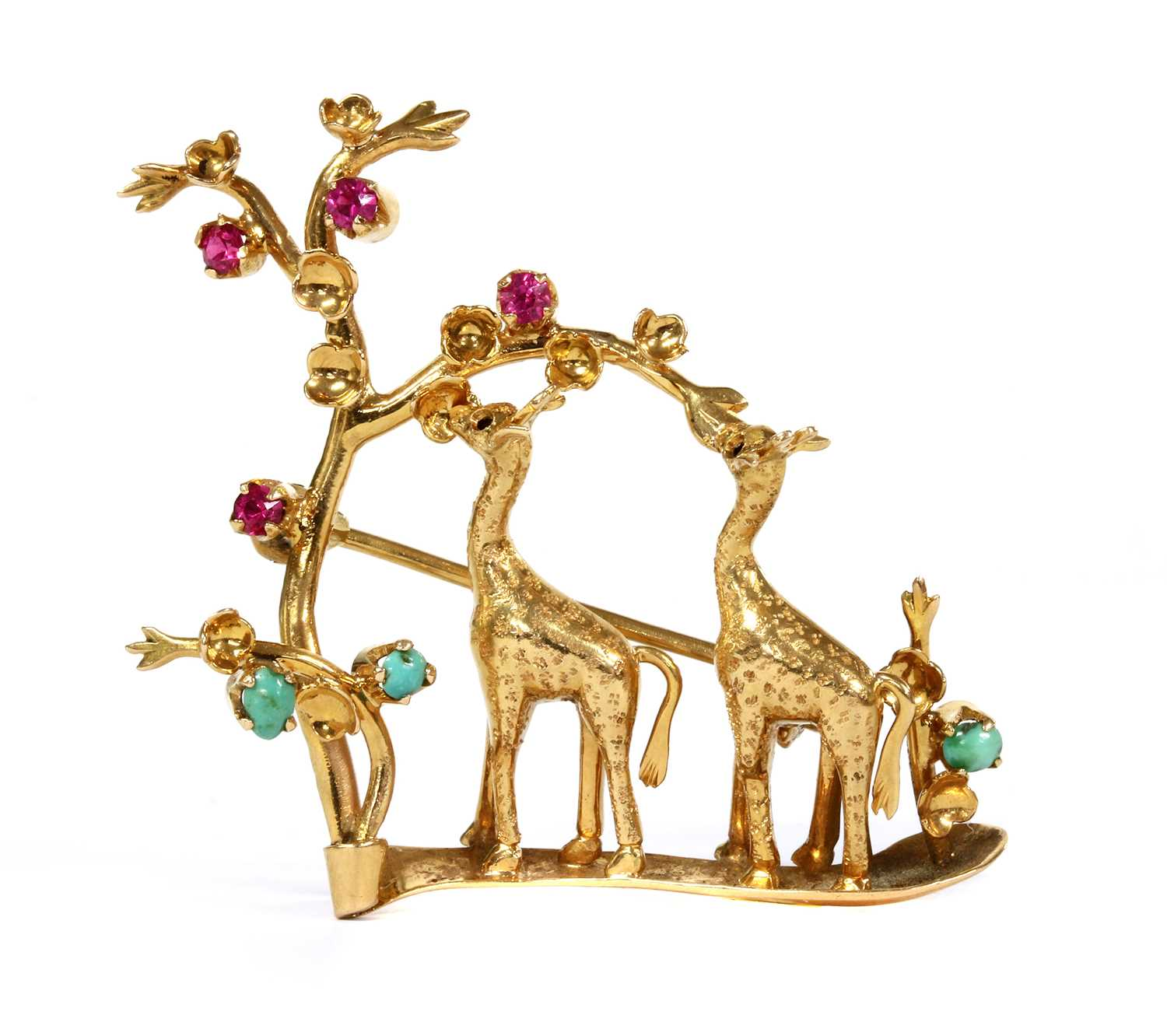 Lot 14 - An Italian gold ruby and turquoise set giraffe brooch, c.1950
