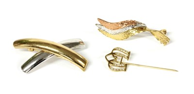 Lot 77 - A 9ct rose, white and yellow gold spray brooch