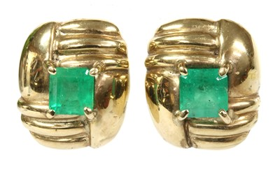 Lot 110 - A pair of 9ct gold emerald stud earrings