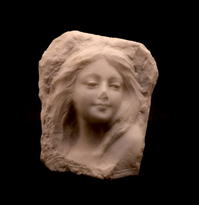 Lot 86 - A carved marble bust in relief of a young woman