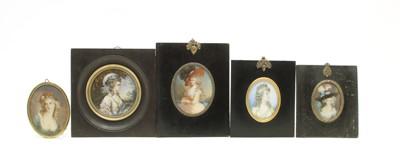Lot 61 - Five portrait miniatures