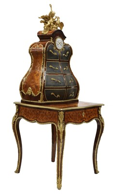 Lot An extraordinary Louis XV-style rosewood marquetry and gilt-bronze writing table and cartonnier
