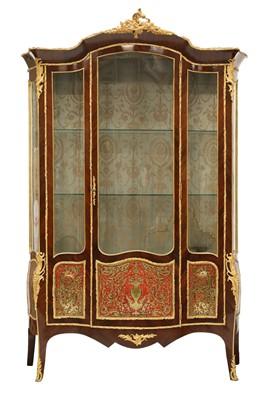 Lot 43 - A good Louis XV-style rosewood serpentine vitrine