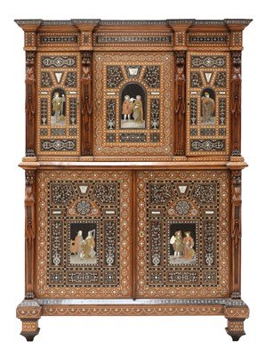 Lot An extraordinary, profusely inlaid, mahogany cabinet