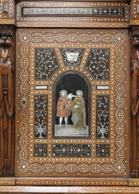 Lot An extraordinary, profusely inlaid, mahogany cabinet