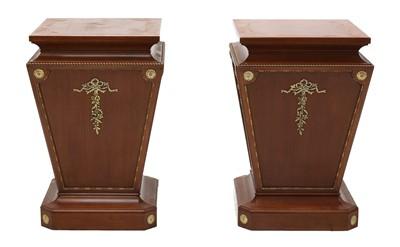 Lot 38 - A pair of mahogany pedestals