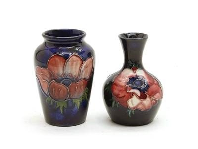 Lot 58 - Two Walter Moorcroft 'Anemone' Miniature Vases