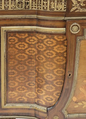 Lot A Louis XVI-style inlaid, parquetry and mahogany marble top commode