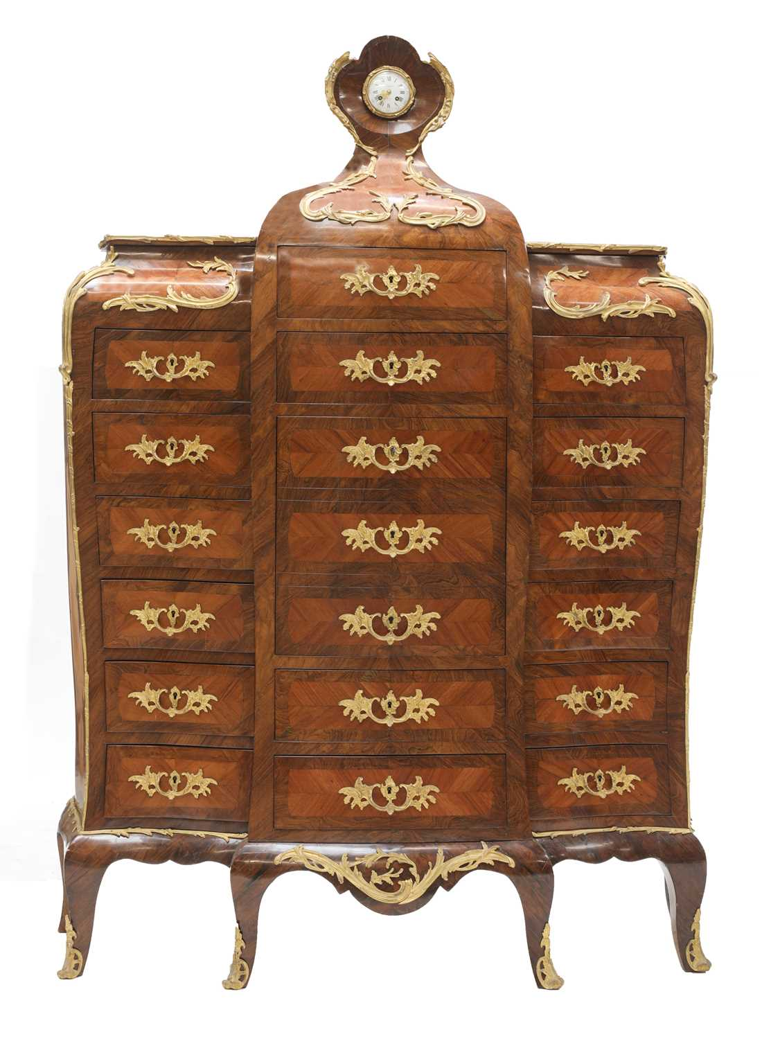 Lot 12 - An extraordinary and fine Louis XV-style rosewood and kingwood secretaire en chiffonier