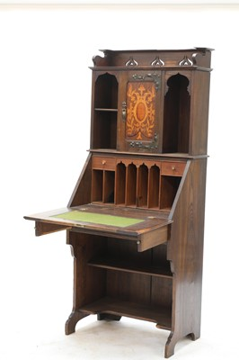 Lot 72 - An Arts and Crafts inlaid oak bureau