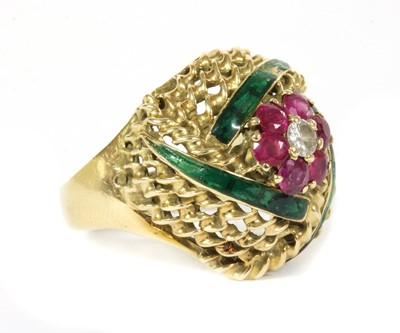 Lot 16 - An Austrian gold diamond, ruby and enamel bombé ring