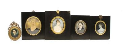 Lot 62 - Five 19th century oval portrait miniatures