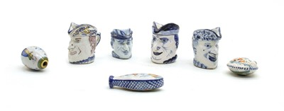 Lot 65 - Seven French faience items