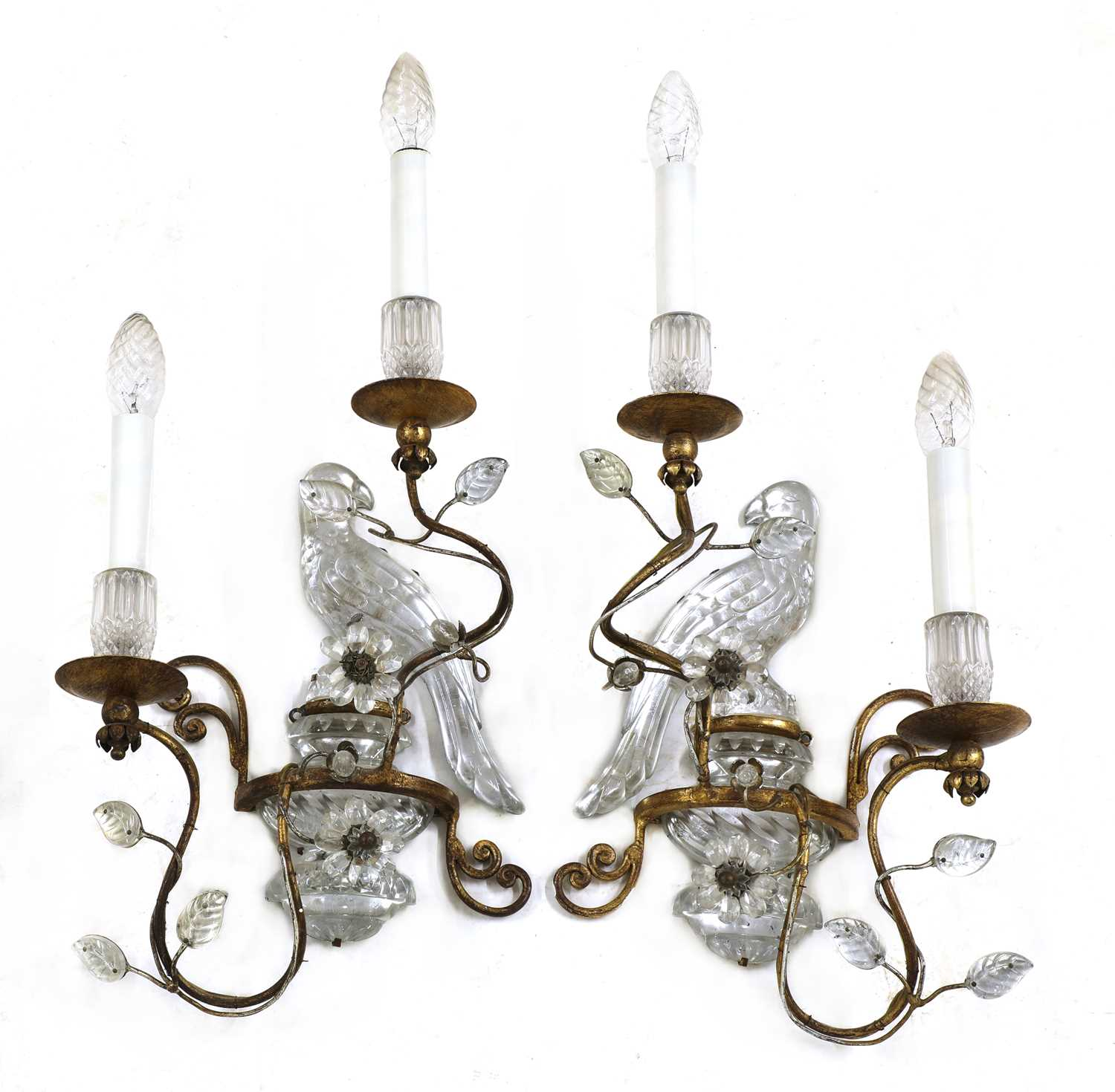 Lot 226 - A pair of French glass and gilt metal 'parrot' wall sconces