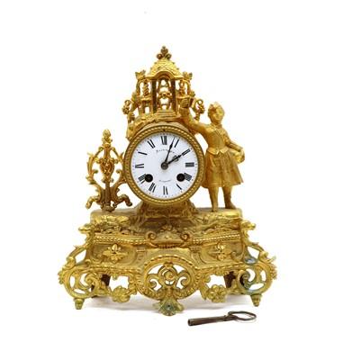 Lot 100 - A Continental gilt spelter mantel clock