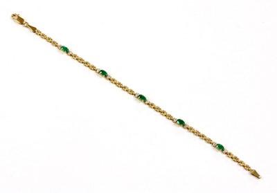 Lot 105 - A 9ct gold emerald and diamond bracelet