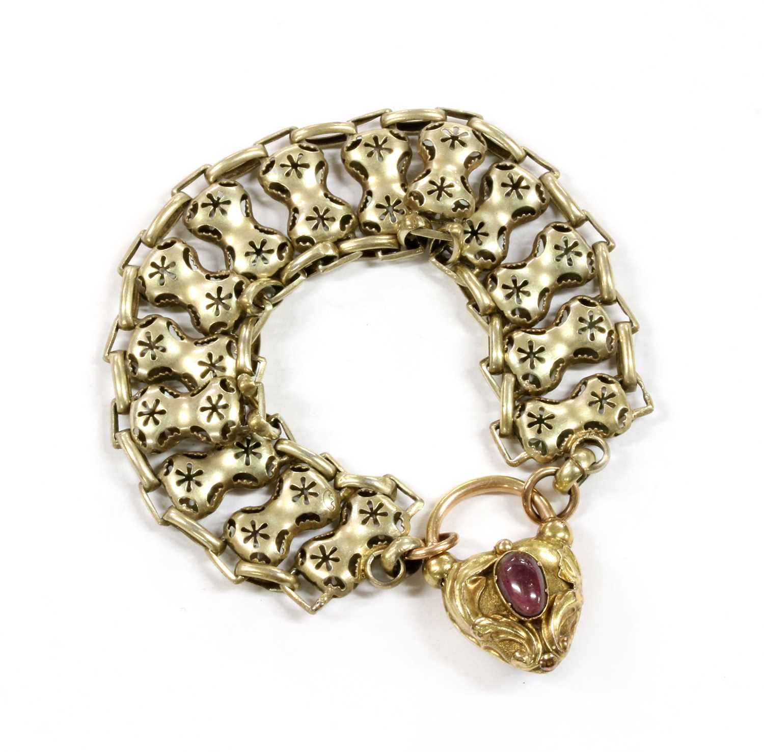 Lot 2 - A Victorian gold heart shaped padlock clasp