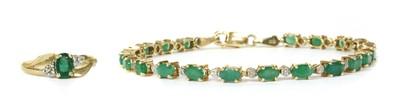 Lot 111 - A 9ct gold emerald and diamond bracelet