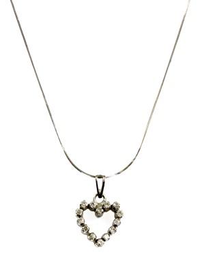Lot 99 - A white gold diamond set open heart pendant