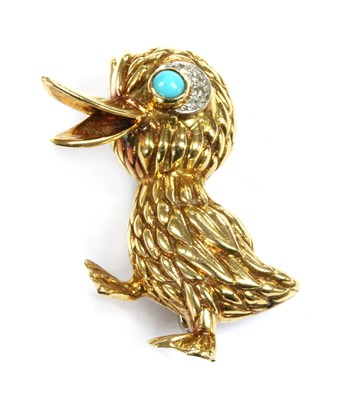 Lot 18 - An 18ct gold turquoise and diamond duck brooch, c.1970