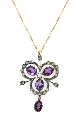 Lot 159 - A silver amethyst, split pearl and diamond pendant