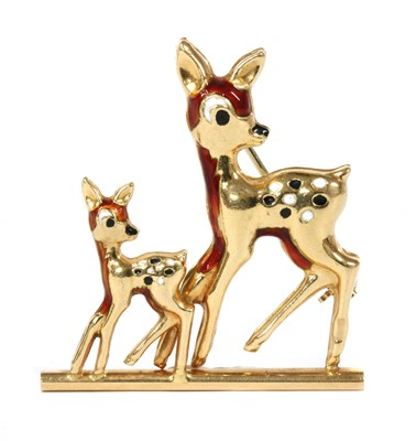 Lot 13 - An Italian gold and enamel deer and fawn brooch