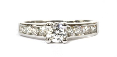 Lot 80 - A white gold single stone diamond ring