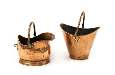 Lot 105 - A Victorian copper coal scuttle of helmet form