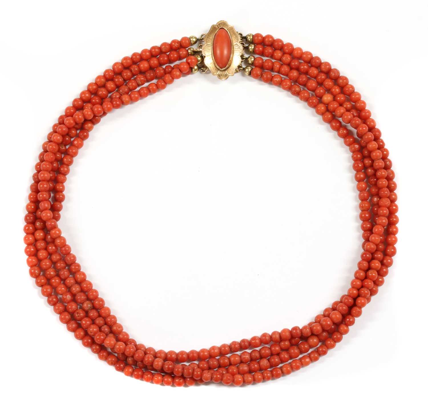 Lot 20 - A Dutch four row uniform coral bead necklace