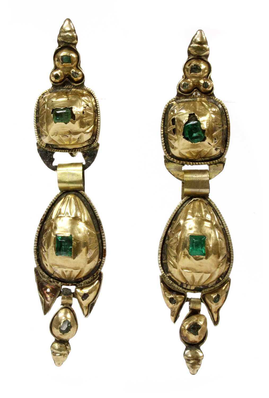 Lot 6 - A pair of 19th century Spanish Catalan emerald drop earrings