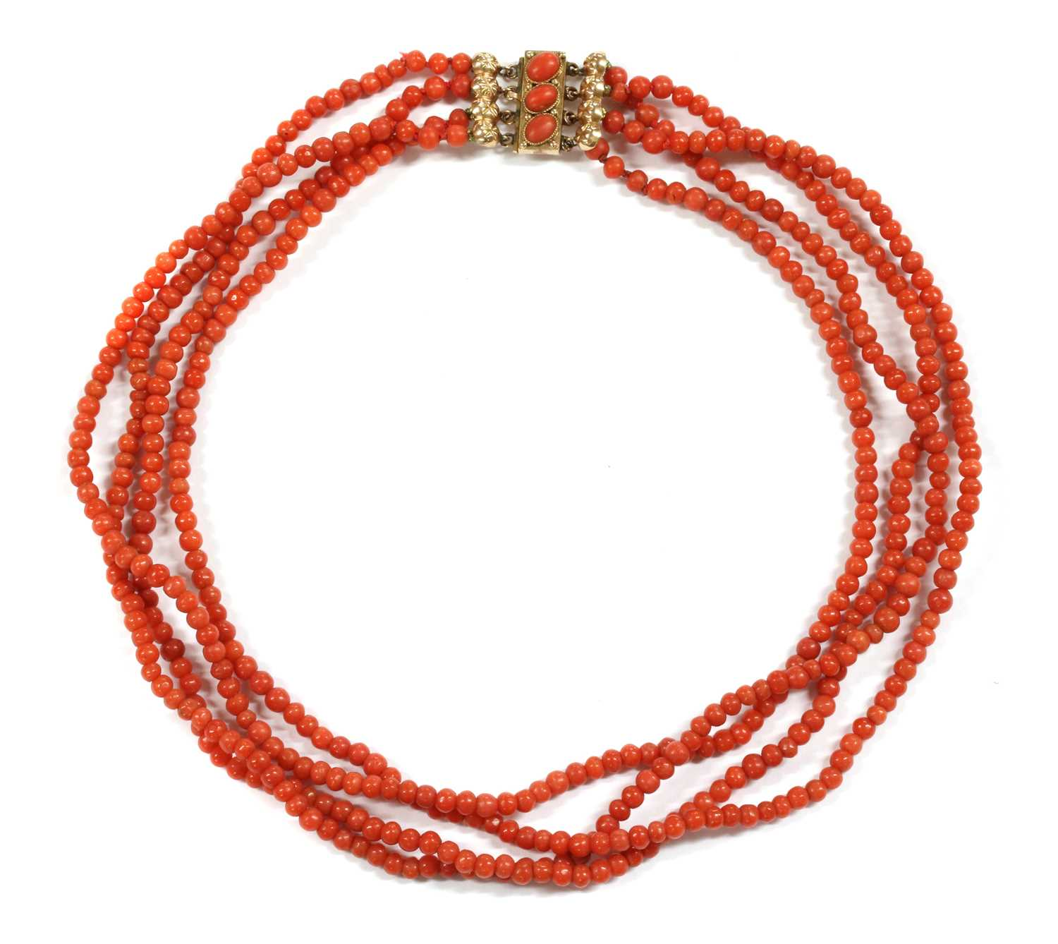 Lot 21 - A four row uniform coral bead necklace