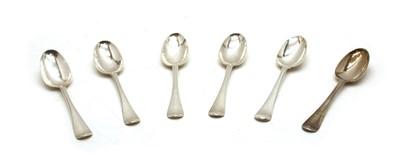 Lot 1 - A set of five George I silver rat-tail back spoons