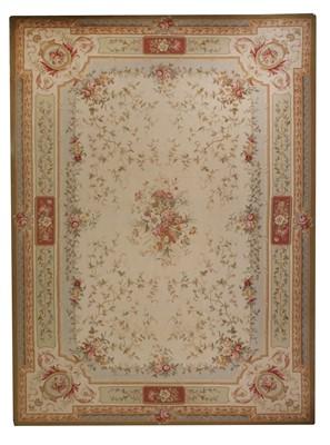 Lot 33 - An extremely large Aubusson design needlework carpet