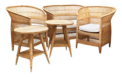 Lot 368 - A five-piece English willow conservatory suite