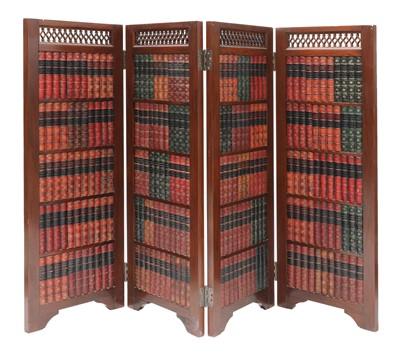 Lot 493 - A mahogany four-part room divider